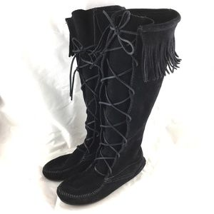 Minnetonka Front Lace Knee High Boot black suede